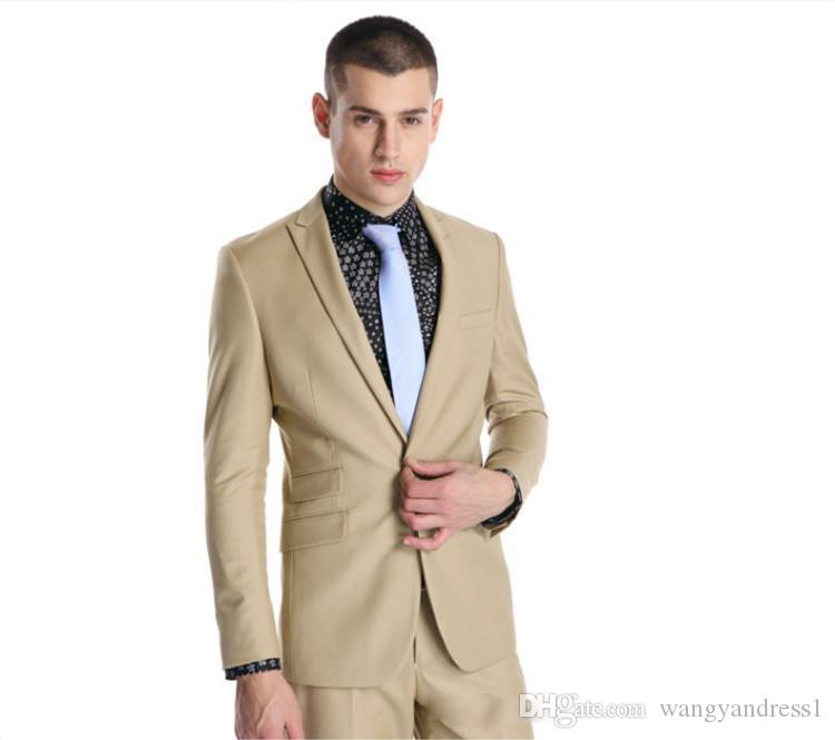 New style Custom made Handsome Wedding Suits Beige Tuxedos Formal Suits Business Wears Peaked Lapel Groomsman suits Jacket+Pants