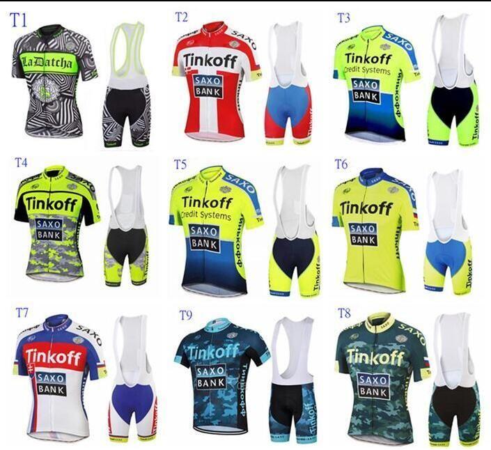 HOT Sale Tour De France Cycling Jerseys Bike Suit Cycling Jersey Tinkoff  Saxo Cycling Jersey +Short Bib Pants Size XS 4XL Custom Cycling Jerseys  Cycle Wear ... 989087d8e