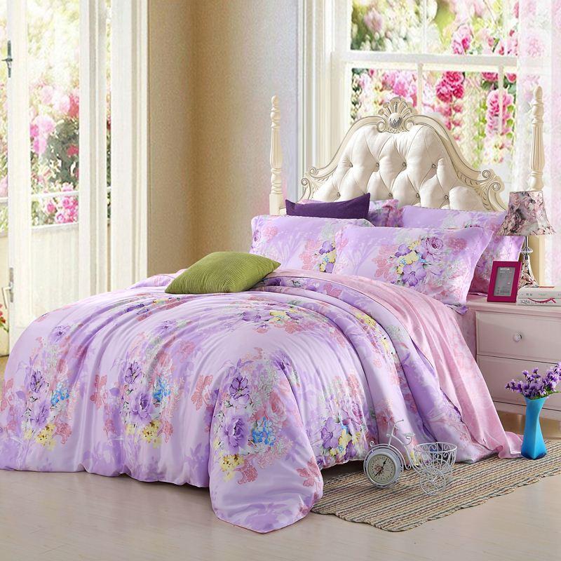 Light Purple Lilac Mauve Lavender Bedding Set Floral Queen