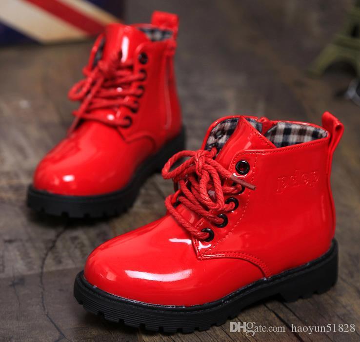 c8b3a5df894a0 Acheter Filles Garçons 2016 Nouveaux Enfants Bottes En Cuir Enfant De Sexe  Féminin Enfant Bottes Martin Chaussures Garçons Unique Chaussures Petite  Fille ...