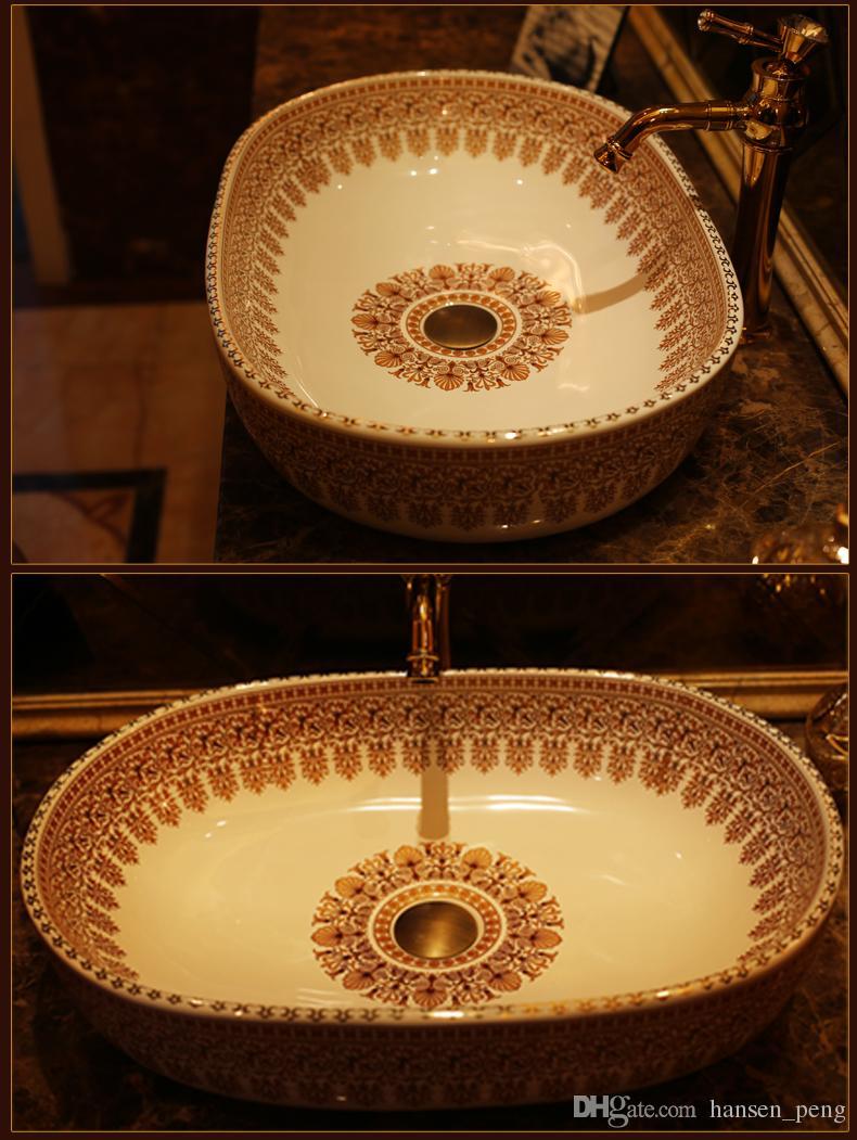Cloakroom Oval Porcelain Wash Basin Lavabo Counter top Sink Vessel Bathroom Hand Paint Art Wash Sink JY-XPTP109