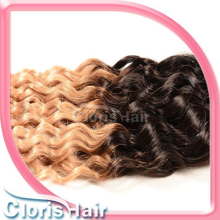 Gümrükleme 3 Paketler Sarışın Ombre Ham Hint Saç Örgü Iki Ton 1B / 27 Afro Kinky Kıvırcık Virgin İnsan Saç Uzantıları fiyatları