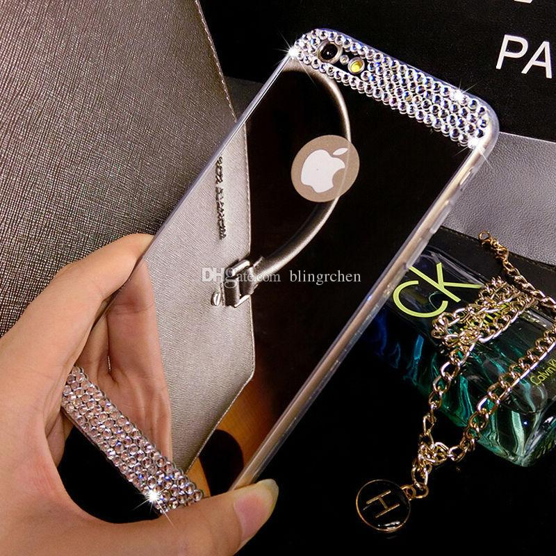 For iPhone7 Luxury Handmade Bling Diamond Mirror Soft TPU Silicone Case Back Cover for iPhone5 5S/iPhone6 6s/iPhone6 6s plus,