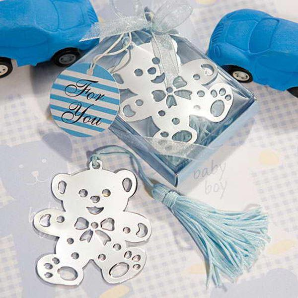 100 UNIDS / LOTE Azul / Rosa Osito de peluche Bookmark + baby shower party favorece el regalo 1203 # 03