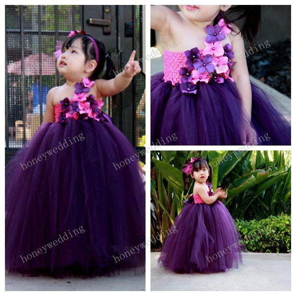 Flower Girl Dress Eggplant And Fushia Tutu Dress Baby Tutu Dress Toddler  Tutu Dress Wedding Birthday Dress Ball Gown One Shoulder Flower Girl Dresses  Pink ...