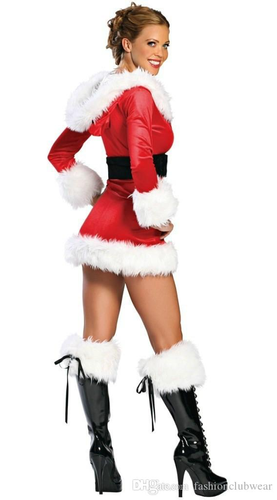 New Sale Sexy Cosplay Christmas Costume for Women Adult Fancy Short Dress+Hat+Belt Pure White Villi Deep U Style