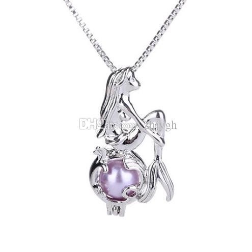 Monili all'ingrosso, collana del pendente della perla di desiderio di amore, collana del pendente della sirena, collana, trasporto libero