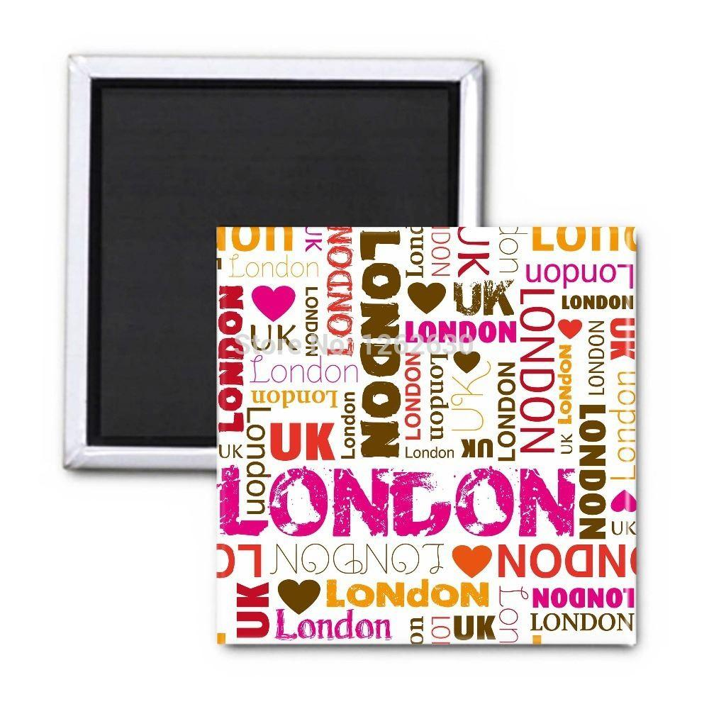 Sweet Pink Fashion Love London Repeat Typography Pattern Print - Custom car magnets uk