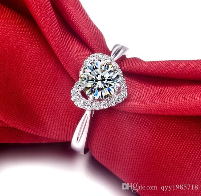 도매 2017 새로운 도착 1CT 심장 모양 합성 다이아몬드 결혼 반지 925 스털링 실버 주얼리 18K 화이트 골드 도금 반지
