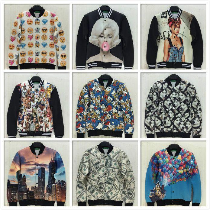 Fall 2015 Winter Fashion Men Wonen Bomber Jacket Brand 3D Printed Outdoor  Jackets Windbreaker College Baseball Jacket Jaqueta Hombre Cropped Jacket  Brown ... df98b2d3ebf