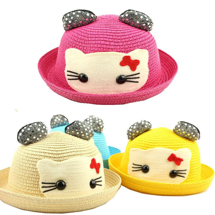 2019 2015 Summer New Children HELLO KITTY Hat Lovely Cartoon Infants Ear  Straw Hat   Sandy Beach Hat Boy Girl Outdoor Leisure Sun Hat From Linyulin ae370b6c573