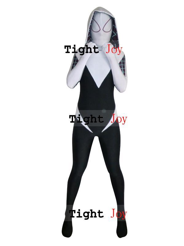 Spider Gwen Stacy Spandex Lycra Zentai Spiderman Costume ...