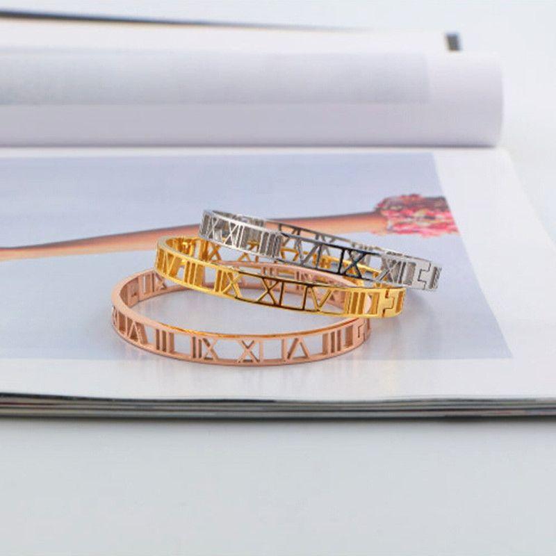 2014 Hot fashion silver rose / oro amarillo 316L números romanos huecos de acero inoxidable brazalete pulsera joyas para mujeres