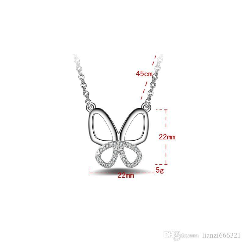 Бесплатная доставка мода высокое качество 925 серебряная бабочка с бриллиантами ювелирные изделия 925 Серебряное ожерелье День Святого Валентина праздничные подарки горячие 1657