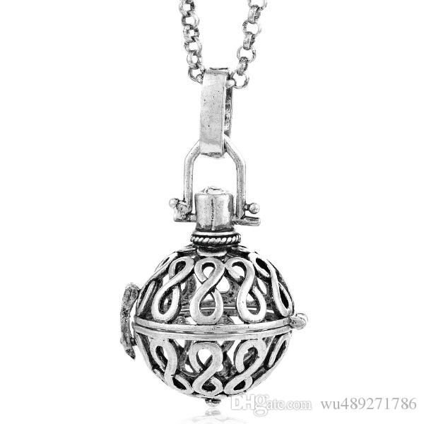 Filigree Infinity Cage Pendant Necklace 18K Gold Music Chime Ball Prenatal Education Baby Caller Harmony Ball Pregnancy Necklace