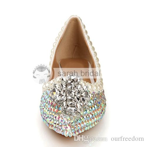 Nuevos zapatos de boda personalizados con cristales Perlas de diamantes de imitación puntiagudas pisos de cuero mujer fiesta de baile zapatos para nupcial venta caliente LSDN1103 2019