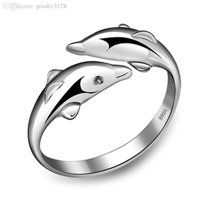 New Fashion 925 Sterling Silver Double Dolphin Opening Adjustable Rings Gift New ZB7PTbYfp