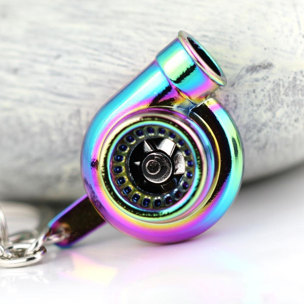 Turbo Keychain: Rainbow Color Turbo Keychain Auto Parts Model Spinning