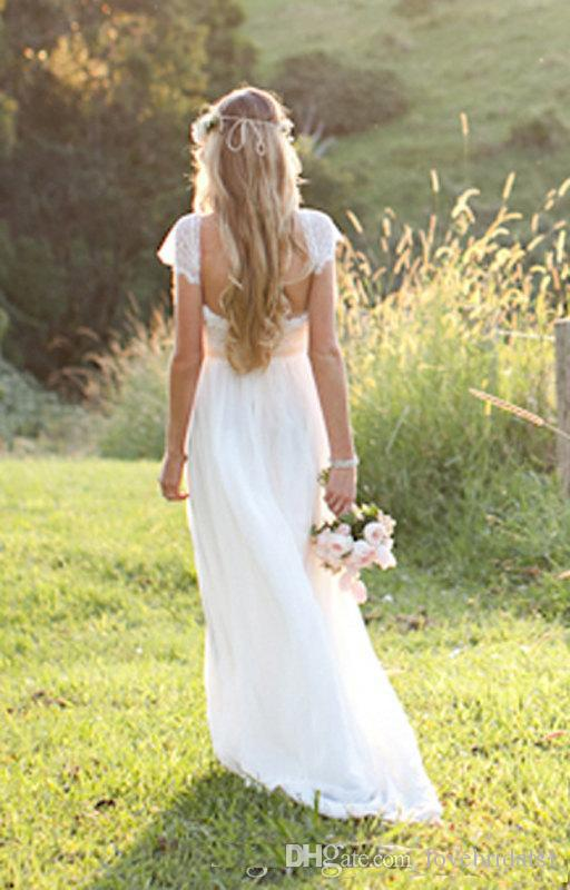 2017 Vintage Boho Lace Wedding Dresses floor length backless sash beaded for Hippie Gypsy Bridal Gowns Vestidos de Novia
