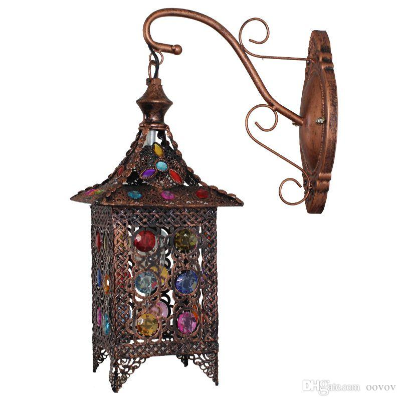 Vintage Beaded Balcony Wall Sconces Creative Acrylic Hallway Corridor Wall Lights Bedsides Living Room Wall Lamp