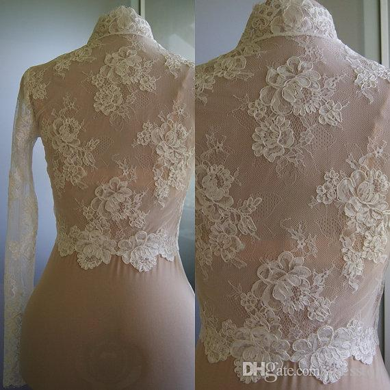 Cheap Ivory Lace Bridal Jackets With Long Sleeves Bolero Wraps For Bride Custom Made Bridal Shrugs