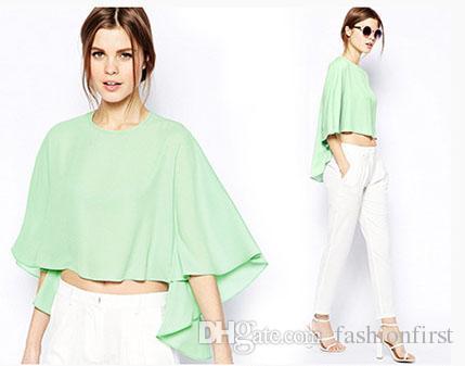25e046646db 2018 Sexy Oversize Women Cape Blouse Cloak Batwing Chiffon Shirt for ...