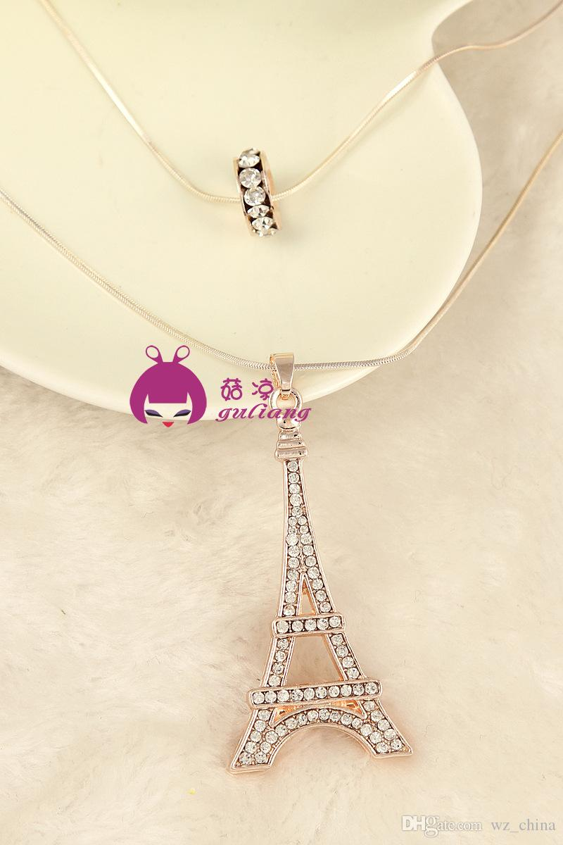 Austrian Crystal Pendant Necklace Double Circle Lucky 18K Gold Plating Paris Tower Lady Full Diamond Wedding Necklaces