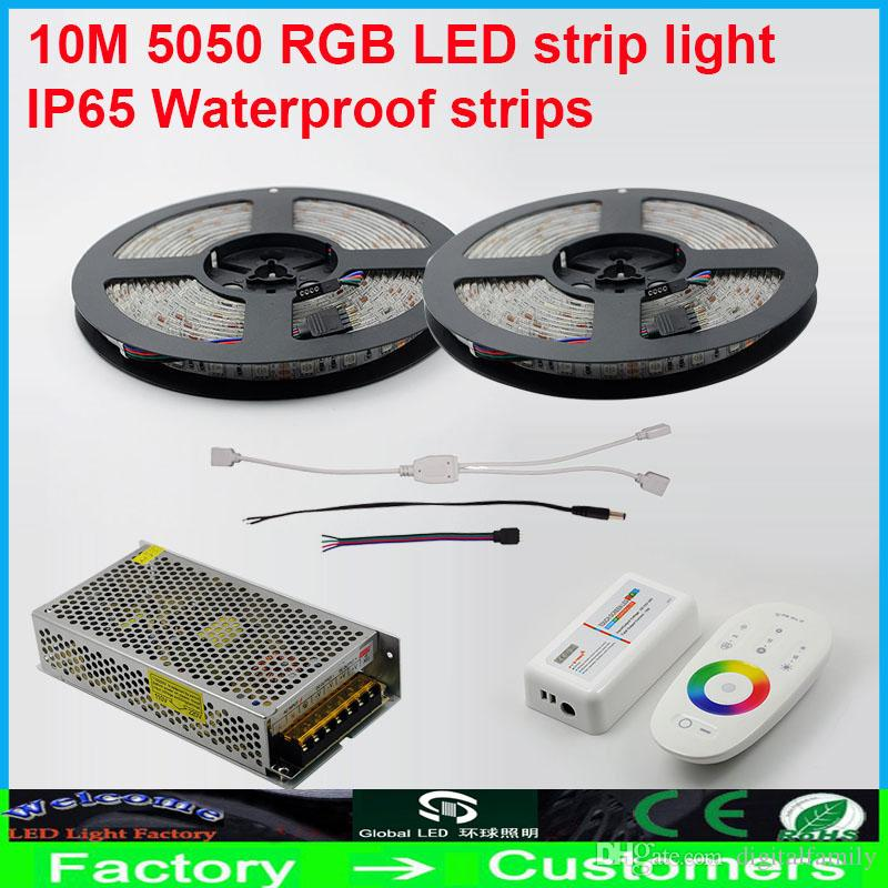 10 Mt Wasserdichte 600led smd 5050 RGB Led Flexible streifen licht + 2,4G Drahtlose touch Dimmer controller + DC 12 V 10A 120 watt Aluminium Power Cool Warm