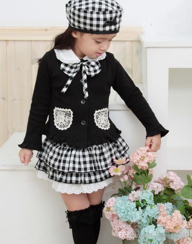 Frete grátis crianças terno de três peças meninas crianças outfit bowknot casaco de manta saia chapéu conjunto de vestido de roupas de escola criança roupas