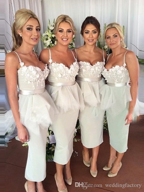 Elegant Sheath Column Tea Length Bridesmaids Dresses Spaghetti Straps Appliques Top Peplum Wedding Guest Party Gowns Custom Made Plus Size