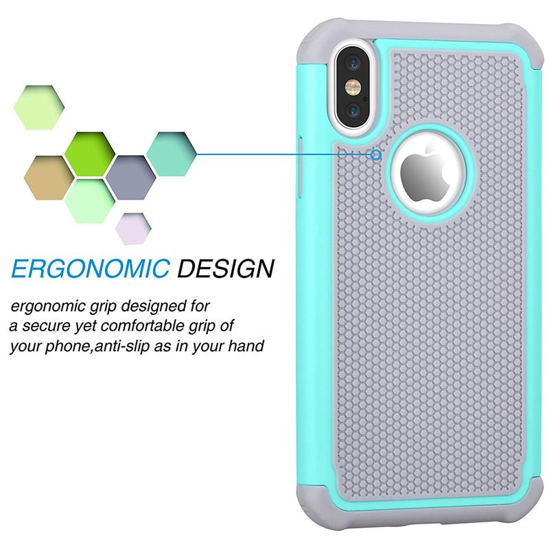 For iPhoneX Hybrid Shockproo Absorbing Rubber Silicone Plastic Scratch Resistant Bumper Grip Rugged Hard Cases Cover for iPhoneX 8plus cases