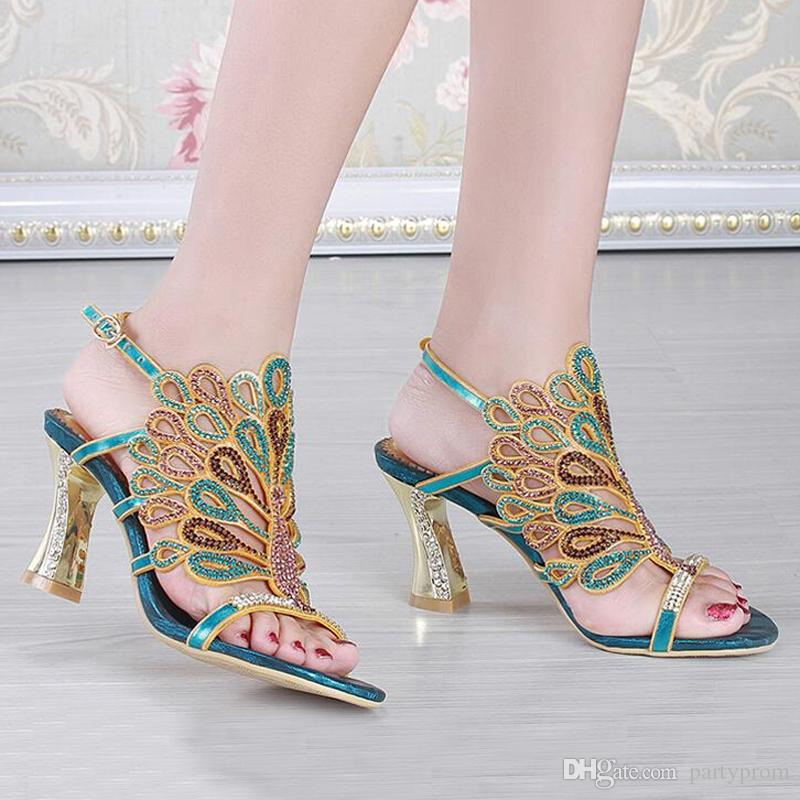 102cb7f2630 Gold Blue Summer Sandals Rhinestone Chunky Heel Genuine Leather Sexy  Wedding Shoes Prom Evening Party Dress Shoes 3 Inches Heels Bridal Wedge Shoes  Shoes ...