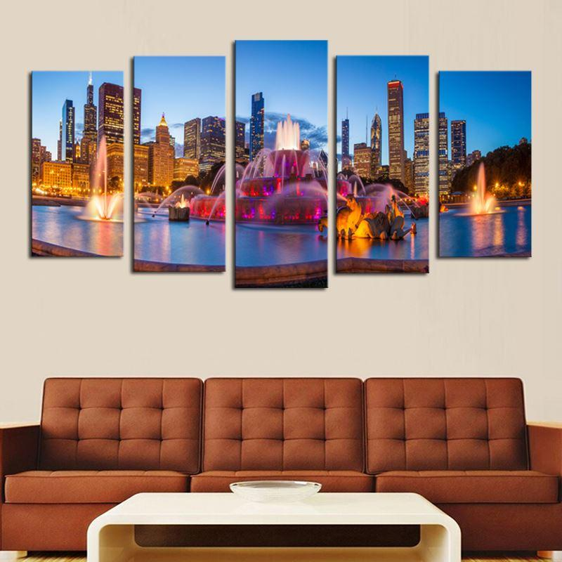2018 Luxry 5 PanelsNo Frame Modern City Scenery Home Wall Decor ...