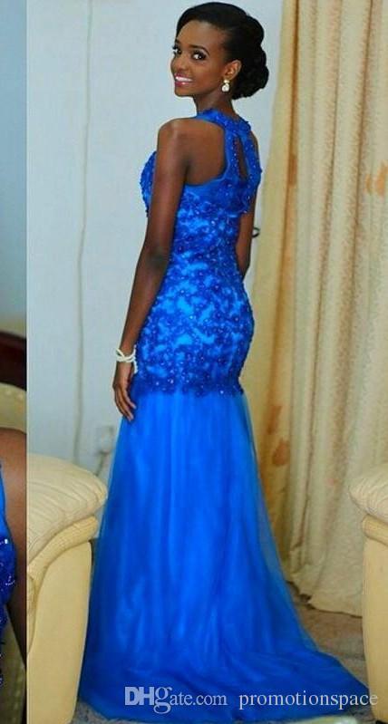 Sirena azul real vestidos de noche 2016 con cuentas de encaje apliques de encaje largo de las mujeres del desfile de la celebridad del vestido más el tamaño vestidos