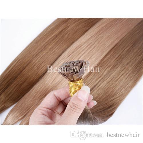 LOUSO Keratin Düz Uç Saç Ön Önceden Yapılmış Saç Uzantıları 100G 18
