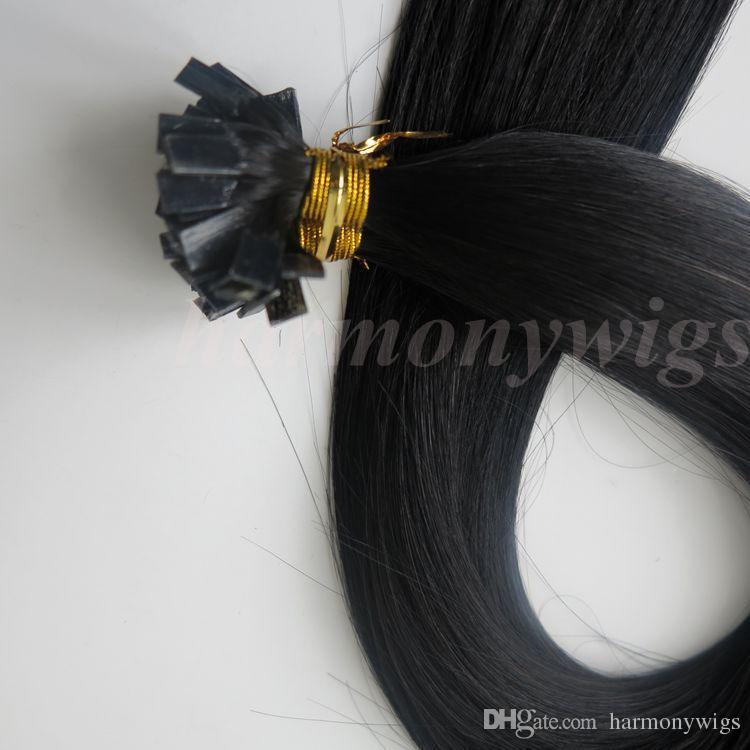 Extensões de cabelo humano de ponta Ligado Pré 100g 100 Vertentes 18 20 22 24 polegadas # 1 / Jet Black Brasil Produtos para o Cabelo de Queratina Indiano