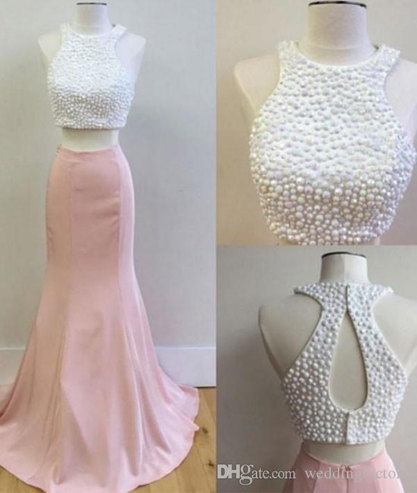 Moda Duas Peças Prom Vestido Jóia Pescoço Cortado Aberto Voltar Blush Rosa Sereia Vestidos de Baile Longos Vestidos de Noite Formais com Cristais