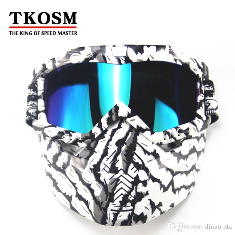 TKOSM Motocross Motorcycle Modular Mask Detachable Goggles And Mouth Filter Perfect for Open Face Motorcycle Half Helmet or Vintage