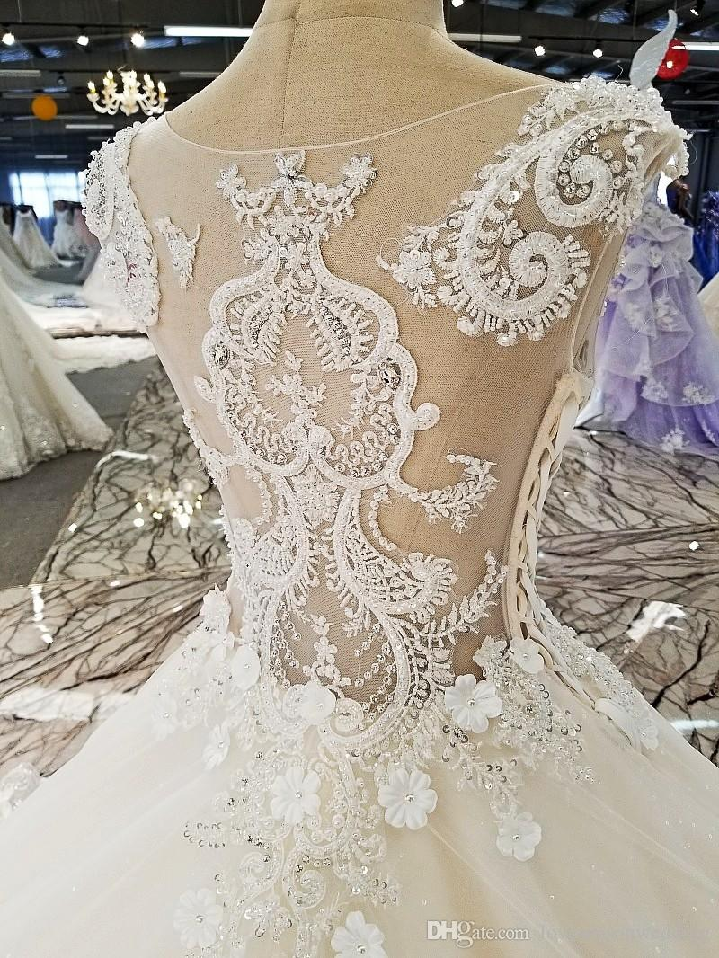 LS00314 cape flower pattern long train lace see through back pakistani designers bridal dresses bridal gown