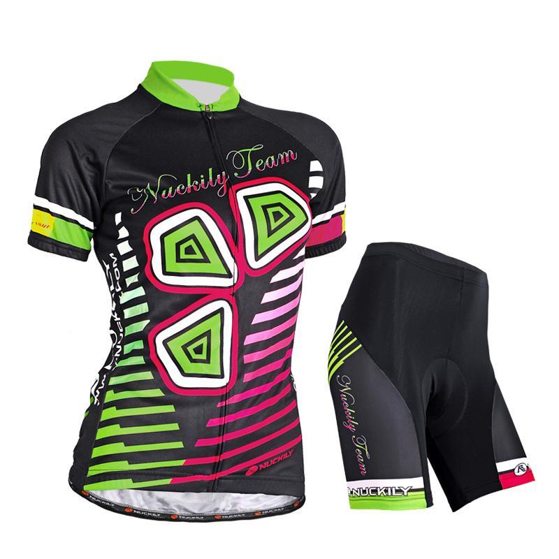 Nuevas mujeres ciclismo al aire libre NUCKILY Back Green Jersey + shorts Jersey de bicicleta Set S - XXL