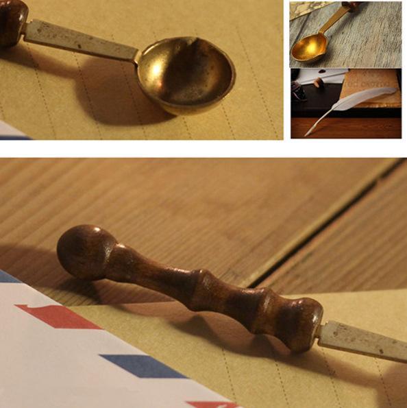 Poignée en bois Scoop Vintage Cachet D'étanchéité Cire Cuillère Anti Chaud DIY Bougie Raccords De Haute Qualité 1 8tt C