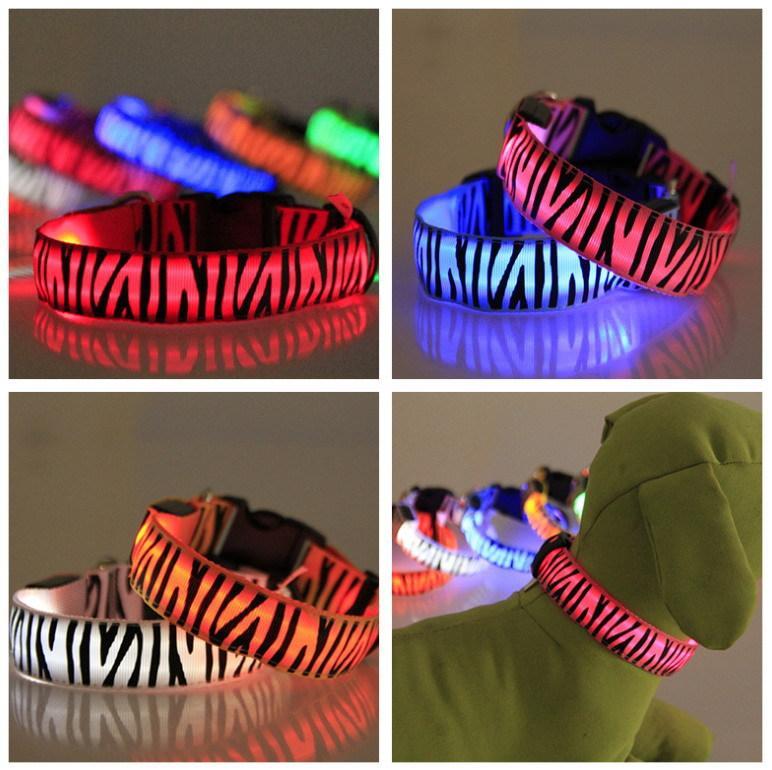 Knipperende PET-halsbanden verlichte Nylon LED Halsbanden Kleurrijke LED Zebra stijl Kraag 2.5m Breedte 8 Kleur S / M / L
