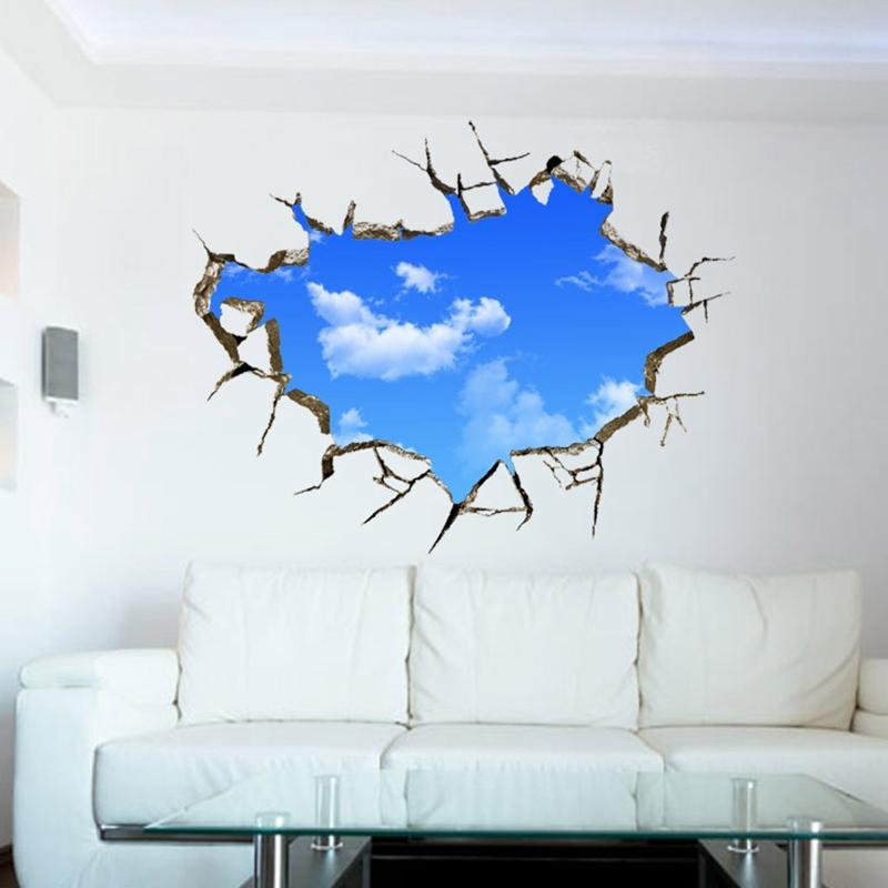 blue purple galaxy wall decals , removable sticker,the art magic 3d
