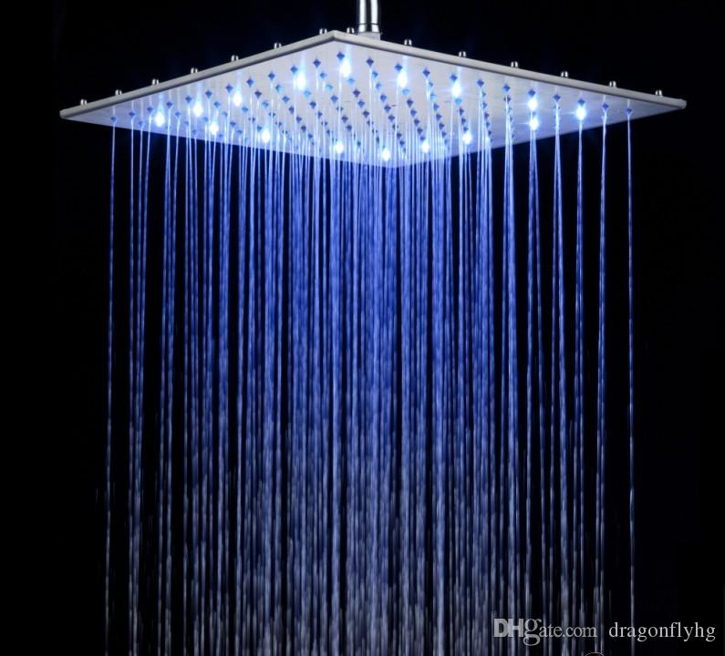 brushed nickel square rain shower head. See larger image 2018 16 Inch Brushed Nickel Led Rain Shower Head Rgb Changing