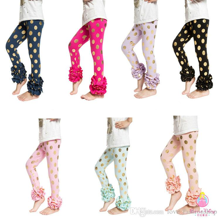 Free DHL EMS Girls' Shiny Triple Ruffle leggings Pant Cute Petti TUTU bottom leggings Flare Pants Kids Girls Shining fashion tight