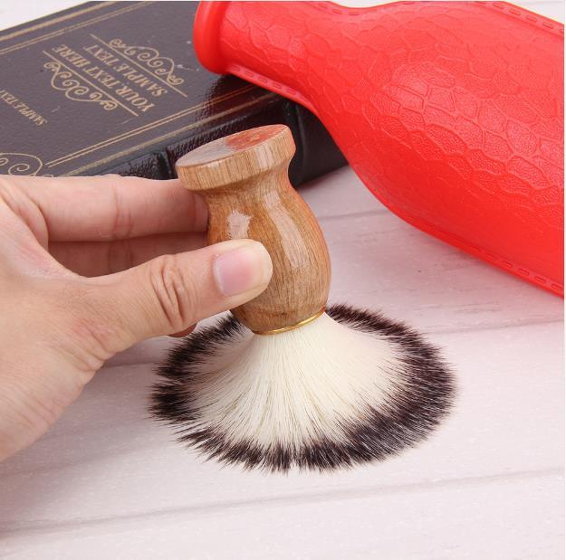 Blaireau cheveux hommes de rasage brosse de salon de coiffure hommes visage barbe appareil de nettoyage outil de rasage rasoir brosse avec manche en bois pour les hommes