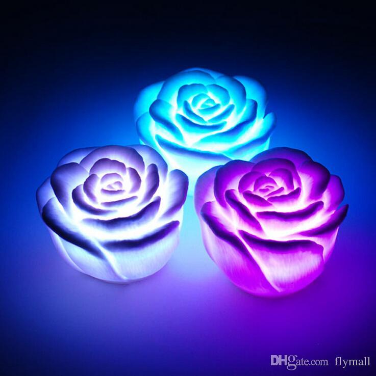 تغيير لون الصمام روز زهرة شمعة أضواء دخاني الورود عديمة اللهب الحب مصباح الإبداعية ضوء الليل روز شكل مصباح رومانسي ضوء