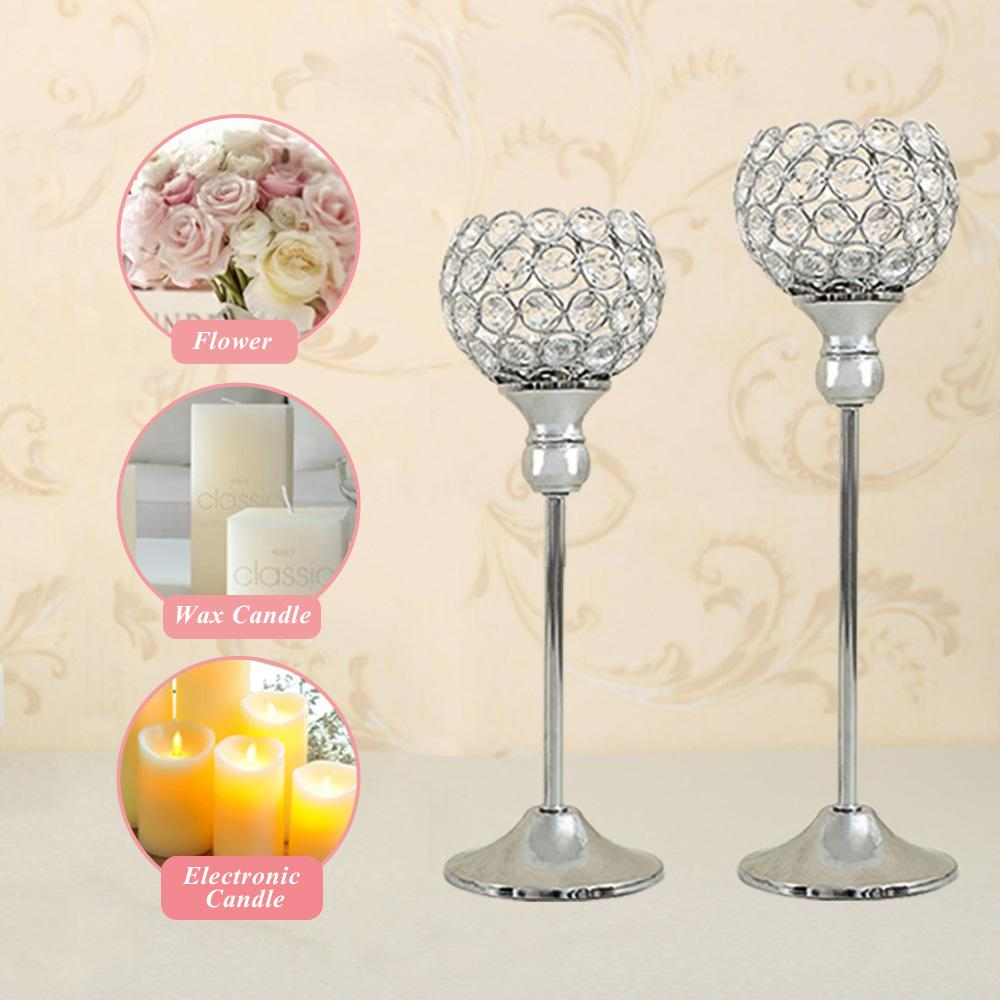 Crystal Candle Holders Set Metal Silver Candlestick Wedding Candle ...