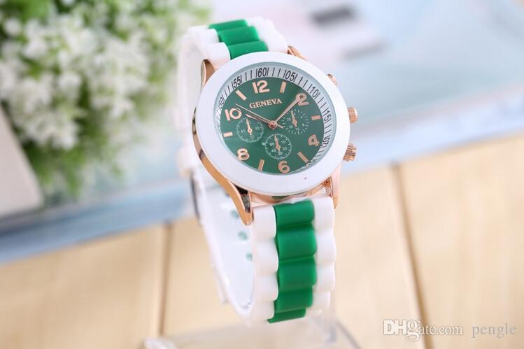 ニュージュネーブシリコーン時計ゼリーウォッチストラップウォッチキャンディカラーユニセックス腕時計ローズゴールドウォッチ100ピース送料無料