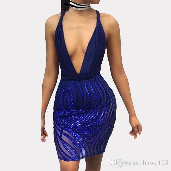 Großhandel Cocktailkleid Elegante Damen Blau Pailletten Kleid Tiefem V  Ausschnitt Backless Verband Bodycon Kleid Sexy Frauen Kurze  Abendgesellschaft Kleider ... 97cca0ce3b